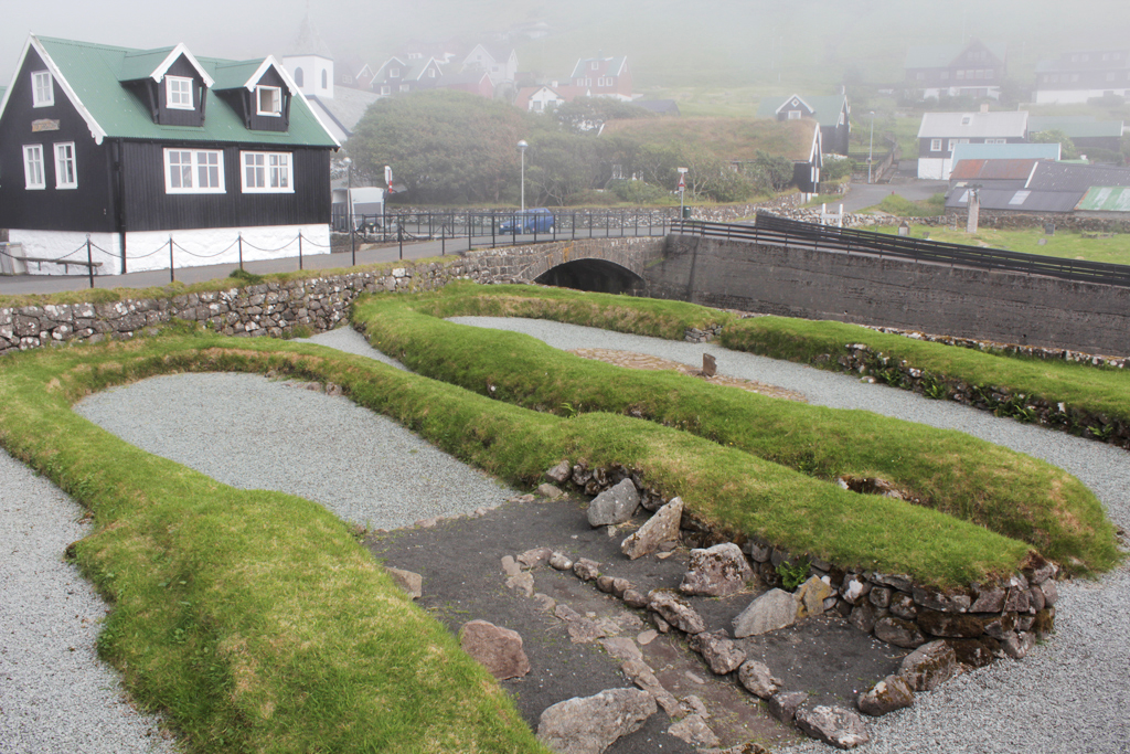 Viking farm at Kvívík on Streymoy eroded by sea waves (source: https://vikingexplorer.files.wordpress.com/2012/07/21_kvivik.jpg)