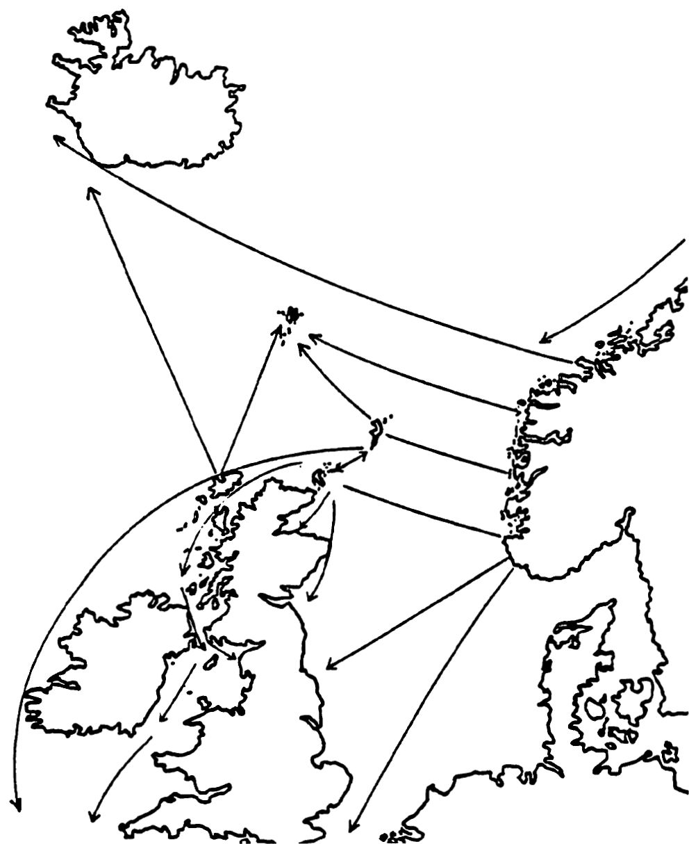 Viking trade routes in the Northern Atlantic (source: Steffen Stummann Hansen: Aspects of Viking-Age Society in Shetland and the Faroe Islands. In: D. Waugh (ed.): Shetland's Northern Links: Language and History. Lerwick (: The Scottish Society for Northern Studies), 1996, s 118.)