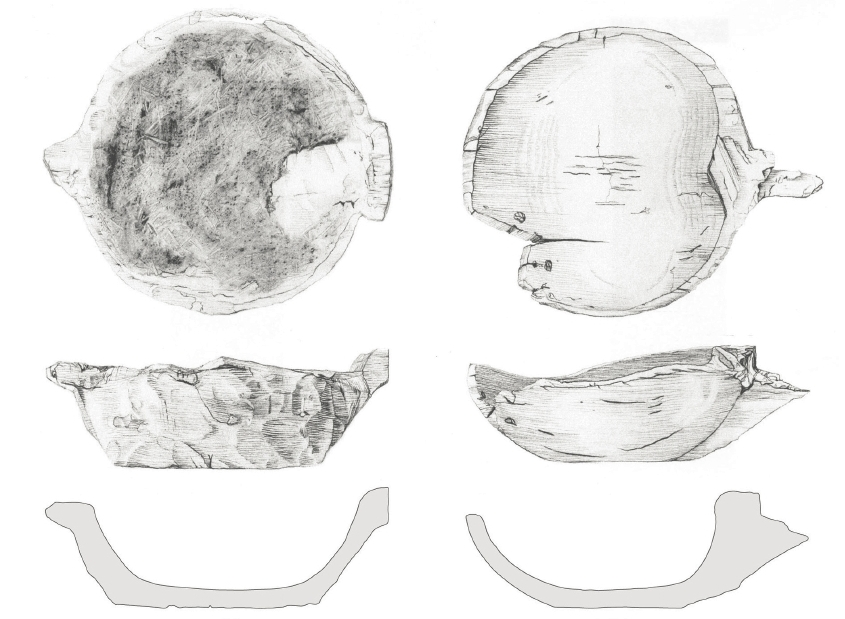 Wooden bowls (source: Steffen Stummann Hansen – Inga Merkyte – Joanna Bending: Toftanes, a Viking Age Farmstead in the Faroe Islands: archaeology, environment and economy. Acta Archaeologica 84/1. Oxford (: Willey, Blackwell), 2013, s. 102)