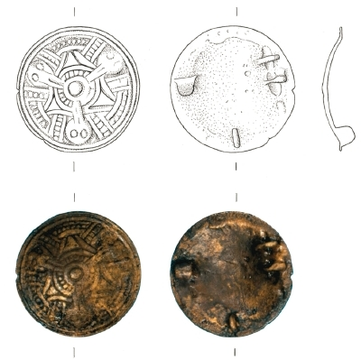 Brooch from Leirvík on Eysturoy (source: Steffen Stummann Hansen – Inga Merkyte – Joanna Bending: Toftanes, a Viking Age Farmstead in the Faroe Islands: archaeology, environment and economy. Acta Archaeologica 84/1. Oxford (: Willey, Blackwell), 2013, s. 85)