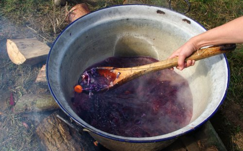 Na ohni se vařil oběd - boršč.