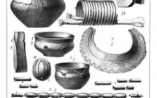 Tabulka z Památek archeologických s kresbami předmětů z velvarského hrobu (podle Smolík 1890)